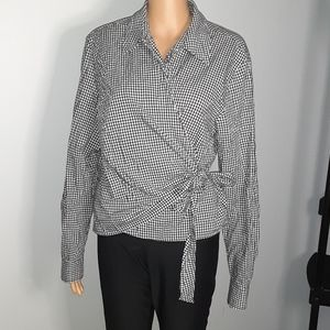 Evan Picone wrap around check blouse1106